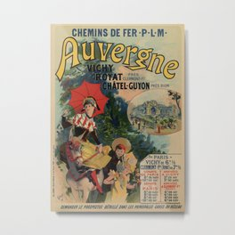 Vintage Auvergne French travel advertising Metal Print