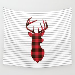 Plaid Deer Head on Minimal Stripes Wall Tapestry