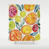clockwork orange Shower Curtains featuring Sliced Citrus Watercolor by Cat Coquillette