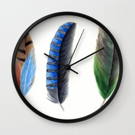 Blue & Green Feathers Wall Clock