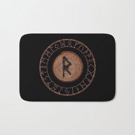 Raidho Elder Futhark Rune Travel, journey, vacation, relocation, evolution, change of place Bath Mat
