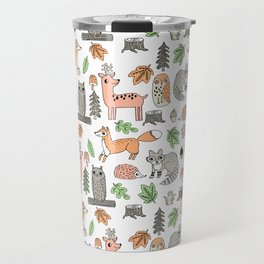 Woodland foxes rabbits deer owls forest animals cute pattern by andrea lauren Travel Mug