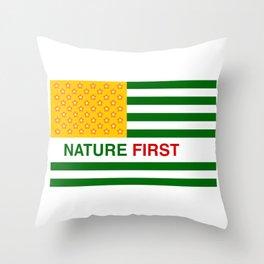 Nature First - Green Throw Pillow