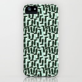 Hunter Green Wellington Welly Boots with Bluebell Flowers on Pastel Aqua Streaky Stripes iPhone Case