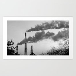 Smoking chimneys in a black and white world Art Print