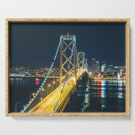 Bay Bridge Long Exposure - San Francisco, California Serving Tray