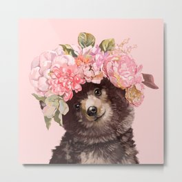Baby Bear with Flowers Crown Metal Print