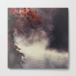 Autumn Light Play - Rising Fog at the River Metal Print