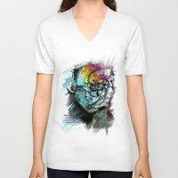 sad V-neck T-shirts featuring Sad by Irmak Akcadogan