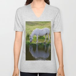 Wild Horse Drinking from a Pond Unisex V-Neck