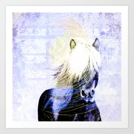 447 Abstract Periwinkle Horse Art Print