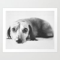 dachshund Art Prints featuring Dachshund by onlypencil