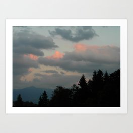 Pink and Grey Mountain Clouds Art Print