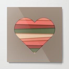 Heart Love Striped Valentine's Day Metal Print