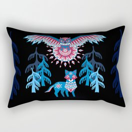 A Northern Folk Winter Woods Midnight Sun Rectangular Pillow