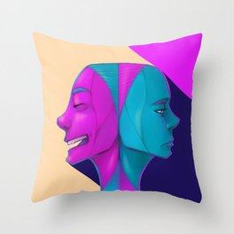 Duel of Face Throw Pillow