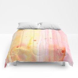Pink Orange Rain Watercolor Texture Splatters Comforters