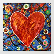 Abstract Painted Heart Canvas Print