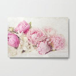 Peonies on white Metal Print
