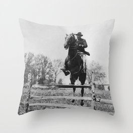 Teddy Roosevelt On Horseback Jumping Fence - Circa 1902 Throw Pillow