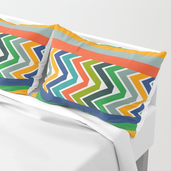 Multicolored stripes and waves Pillow Sham
