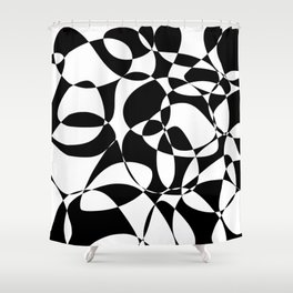 Folly 2. Monochromatic Abstract in Black and White Shower Curtain
