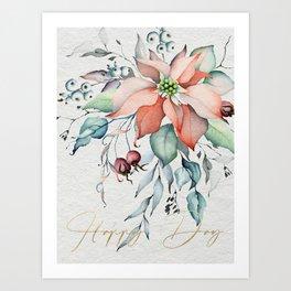 Happy Day – Poinsettia. Flower bouquet Art Print