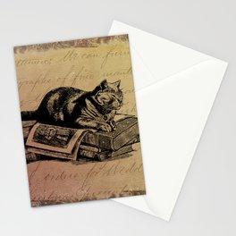 Vintage Cat Collage-Grunge Background Stationery Cards