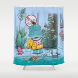 At The Pool Shower Curtain