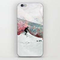 skiing iPhone & iPod Skins featuring Vintage Skiing by Pati Designs