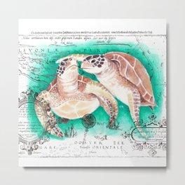 Sea Turtles Vintage Map Metal Print