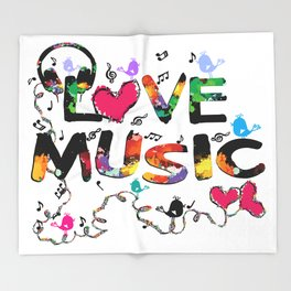 LOVE MUSIC Throw Blanket