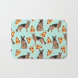 German Shepherd pizza party dog person gifts pet portraits dog breeds cheesy pizzas Bath Mat