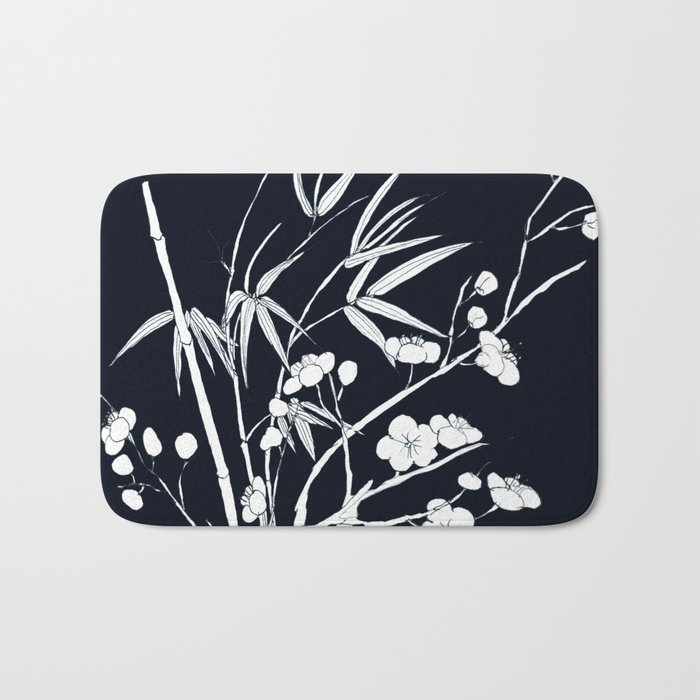 bamboo and plum flower white on black Bath Mat