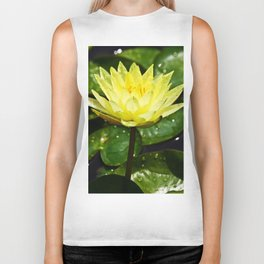 Yellow Water Lily with Raindrops Biker Tank