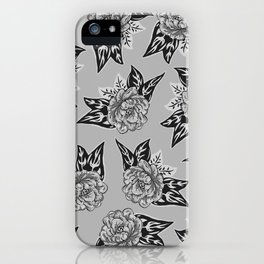 Cabbage Roses in Grey iPhone Case