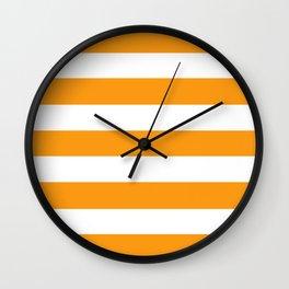 Kumquat - solid color - white stripes pattern Wall Clock