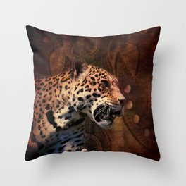 western country rustic wild leopard Throw Pillow
