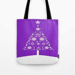 Christmas Tree Made Of Snowflakes On Violet Background  Tote Bag