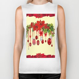 RED CHRISTMAS ORNAMENTS &  POINSETTIAS HOLIDAY ART Biker Tank
