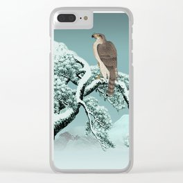 Hawk on Snowy Pine Clear iPhone Case
