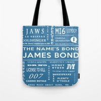 bond Tote Bags featuring Bond Blue by Candace Fowler Ink&Co.