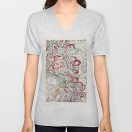 Cool Vintage Map of Mississippi River - Sheet 6 Unisex V-Neck