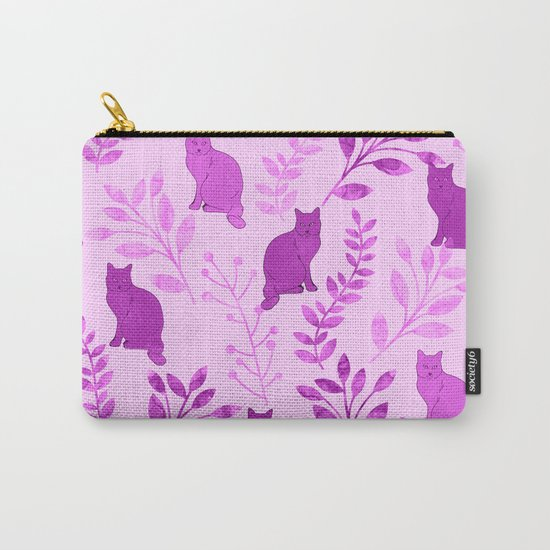 Watercolor Floral and Cat V Carry-All Pouch