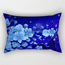 Cherry blossom, blue colors Rectangular Pillow
