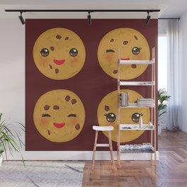 Kawaii Chocolate chip cookie Wall Mural