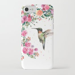 Hummingbird and Flowers Watercolor Animals iPhone Case
