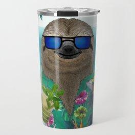 Sloth on summer holidays drinking a mojito Travel Mug