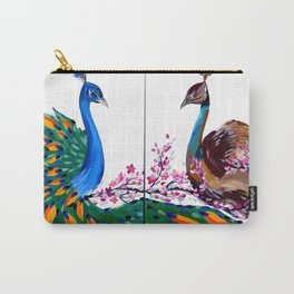 Peacock and Peahen Carry-All Pouch