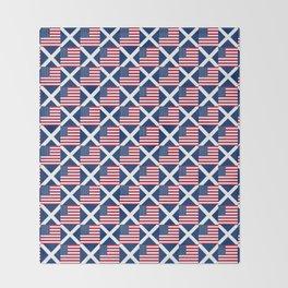 Mix of flag: usa and scotland Throw Blanket